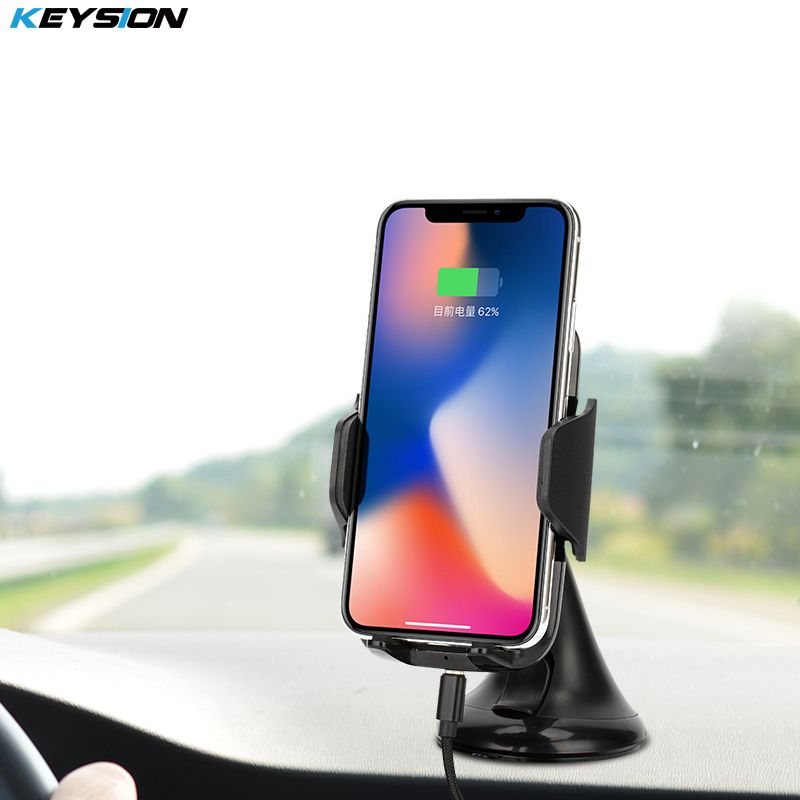 KEYSION 10.8W Fast Charger Qi Wireless Car Charger ChargingPad for iPhone X XS Max XR 8 Plus Samsung S9 Car Suction Mount Stand