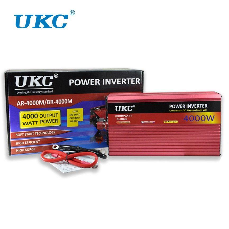 UKC 2000W 3000W 4000W Car Power Inverter Converter DC 12V To AC 220V 50HZ Full Protection AC Power Inverter USB Charger Adapter