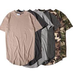HZIJUE2017 Pria T-shirt Warna Solid Musim Panas Melengkung Hem Panjang Hip Hop Kamuflase Tshirt Elong Polos Kanye WEST Tee Shirt pria Top