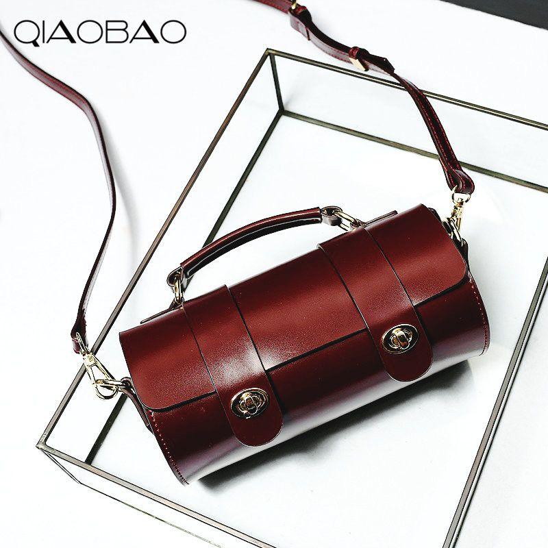 QIAOBAO 2018 Pillow Bag Genuine Leather Messenger Bag Famous Brand Handbags Women Shoulder Bag Envelope Women Crossbody Bag