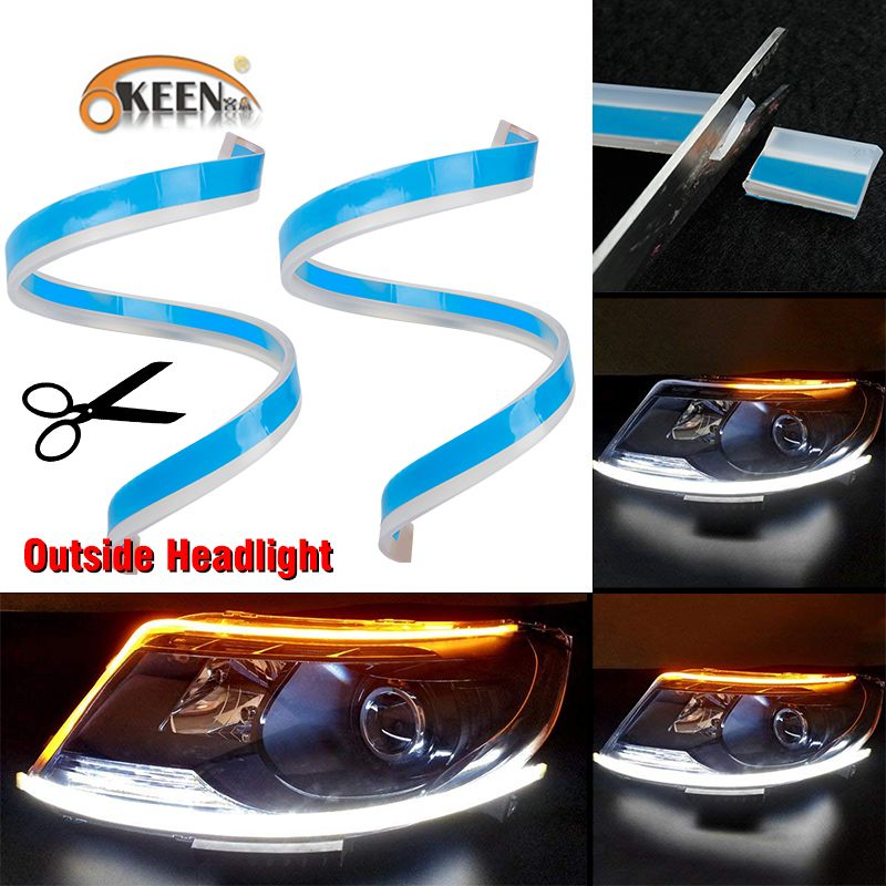 OKEEN 60cm New Slim Amber Sequential Flexible LED DRL For Headlight Strip daytime running light with yellow turn signal lamp 12V