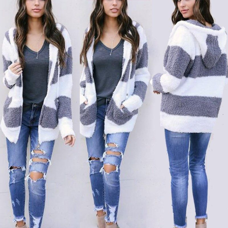 Hooded Women Autumn Winter Outwear Cardigan Ladies Fashion Front Open Long Sleeve Knitted Sweater Cardigans Girls Casual Coat