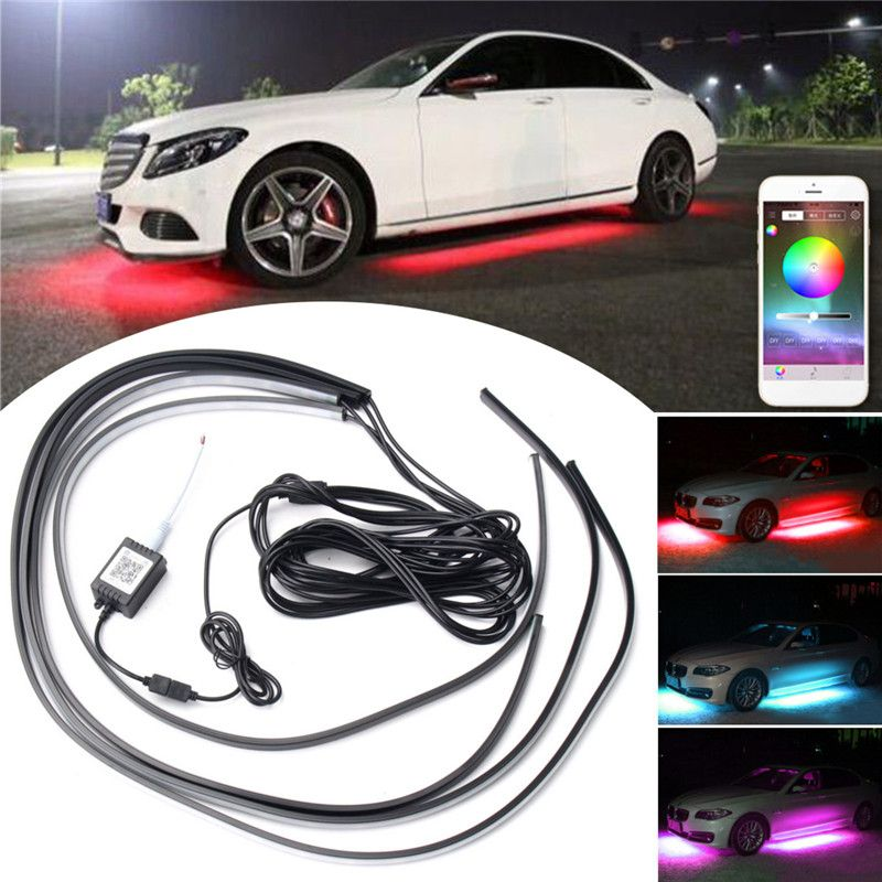 4pcs APP Control RGB Car Flexible LED Strip Decorative Atmosphere Lamp Under Tube Underglow Underbody System Neon Light Kit
