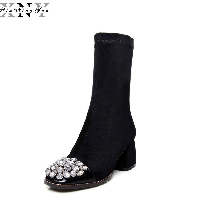 XiuNingYan Frauen Stiefel Mode Strass Karree Hohe Ferse Echtem Leder Schuhe Herbst Winter Oberschenkel Hohe Damen Stiefel 2018