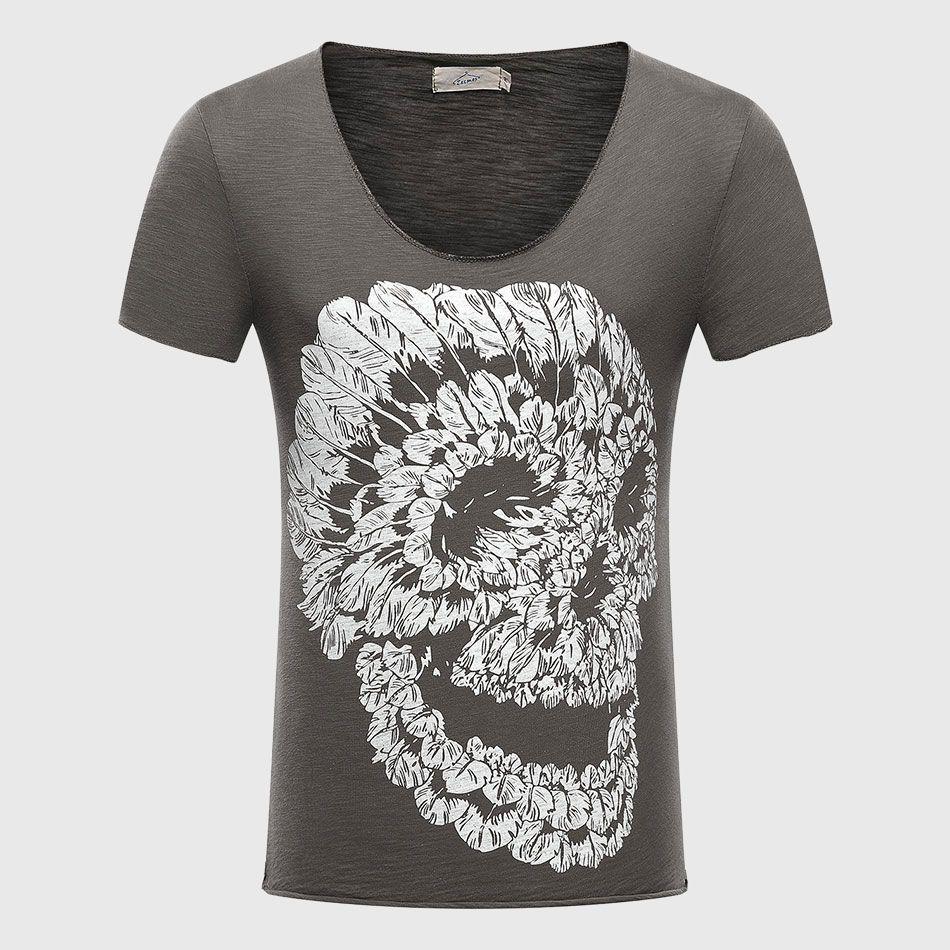 Hommes crâne 3D t-shirts coton graphique t-shirts hauts col en V t-shirt plume imprimé Scoop décontracté Fit Punk Rock été