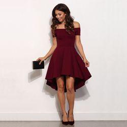2018 Summer Sexy Off the Shoulder Kenee-Length Dress Women's Elegant Solid Slash Neck Short Sleeves A-Line Dress Blue Plus size