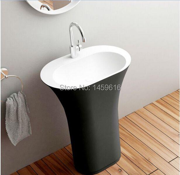 Bathroom Oval Pedestal Washbasin Solid Surface Stone Cloakroom Freestanding Vanity Sink Exterior Black Internal White W9017