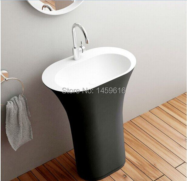 Bathroom Oval Pedestal Washbasin Solid Surface Stone Cloakroom Freestanding Vanity Sink Exterior Black Internal White W9017