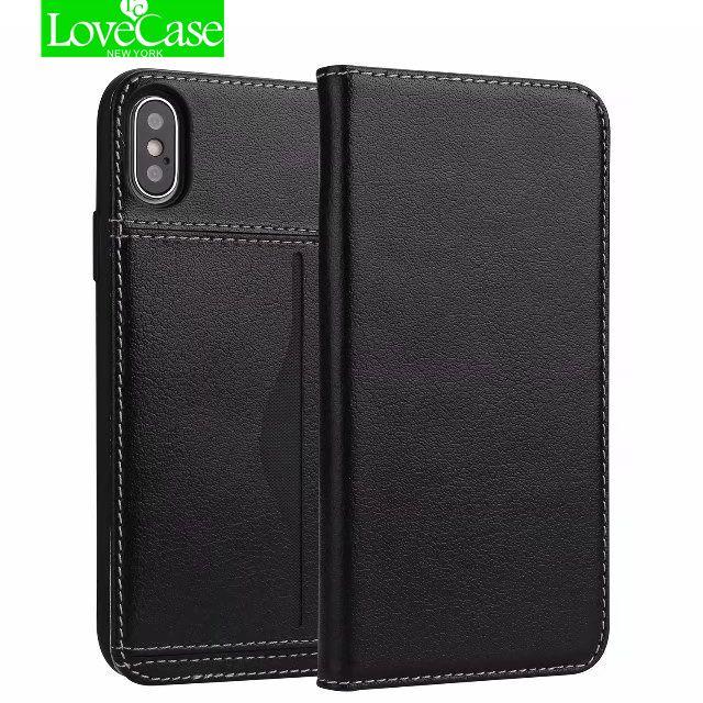 LoveCase Réel Véritable Portefeuille En Cuir Style Flip Cas de Couverture Pour l'iphone X Téléphone portable De Luxe Card Wallet Cas Pour iPhone 10 X sacs