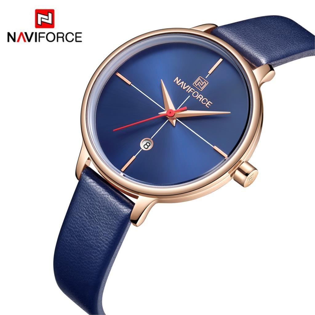 NAVIFORCE femmes montre mode Quartz dame bleu PU bracelet de montre Date décontracté 3ATM étanche montre-bracelet cadeau pour fille femme 2019