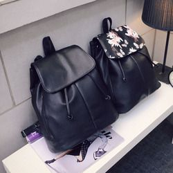Simple College Style Leather Backpacks Drawstring Travel Backpack Shoulder Bags Ladies Students School Bag For Women 2019 LBY