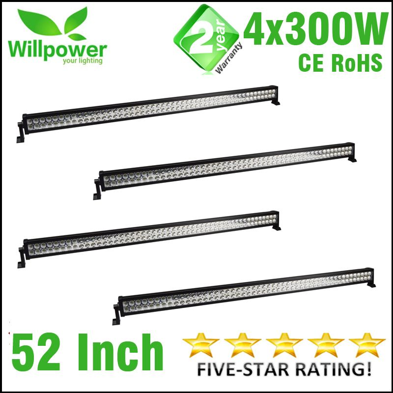 4 pieces dual rows combo beam 4x4 truck tractor car straight 52 Inch 300W led light bar offroad