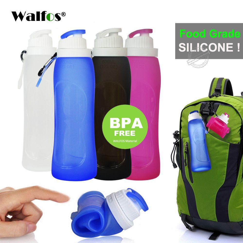 Walfos Еда Класс 500 мл творческий складной силикона пить спортивные бутылки воды Отдых Путешествия пластиковая бутылка велосипед