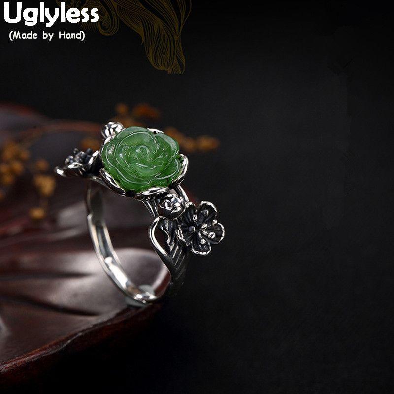 Uglyless S 925 Sterling Silver Natural Jasper Plum Flower Rings Women Vintage Thai Silver Handmade Open Ring Hollow Leaf Bijoux