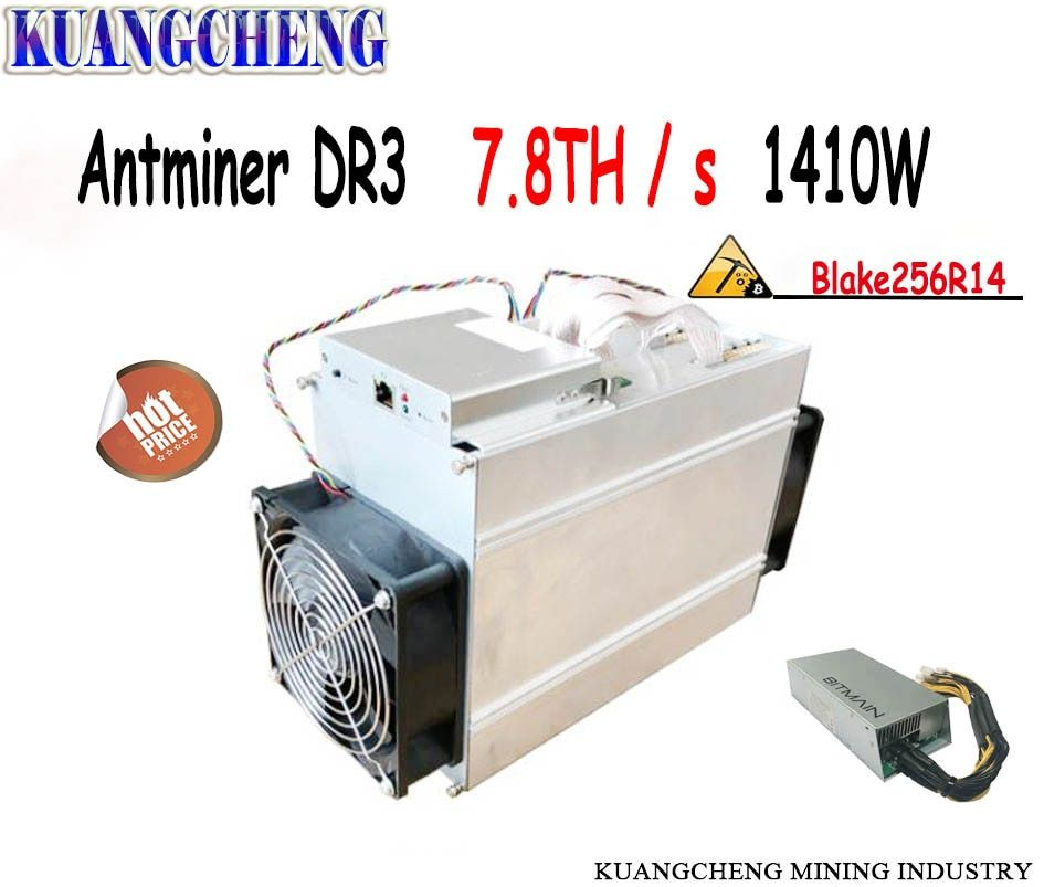 Free shipping!!Antminer DR3 7.8TH / S with BITMAIN APW3++ power supply Asic miner higher yield than Innosilicon D9 and FFminer