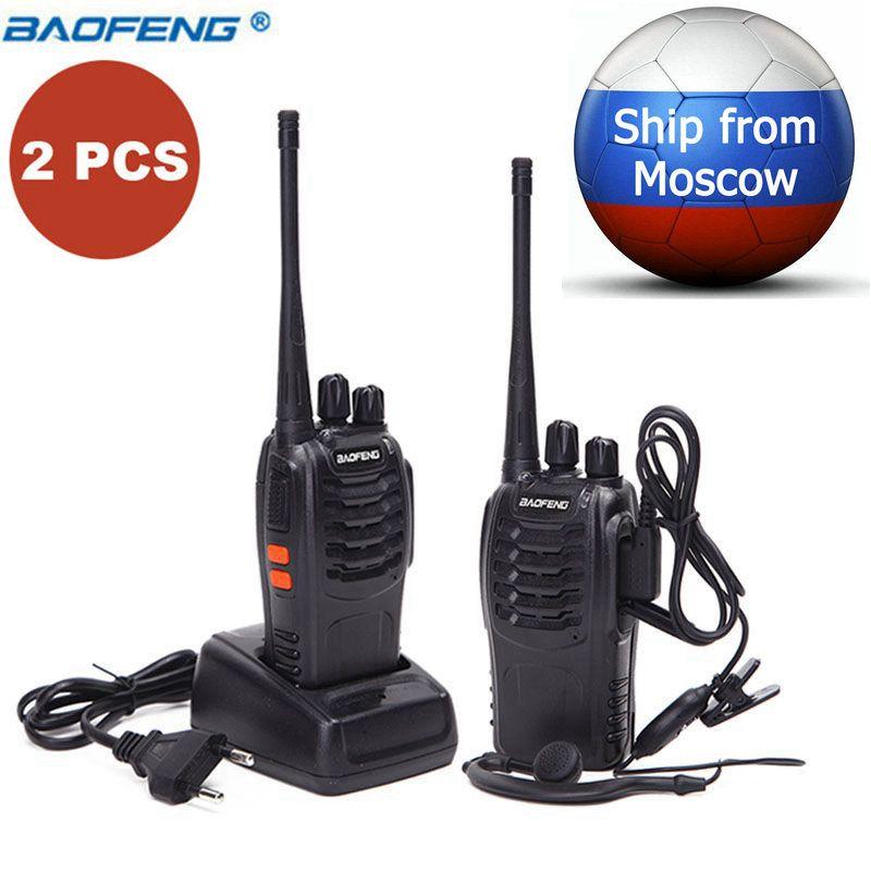 2 pièces Baofeng BF-888S mini talkie-walkie radio portable CB appareil de radio BF888S UHF 888 S Comunicador Émetteur Émetteur-Récepteur + 2 Casque