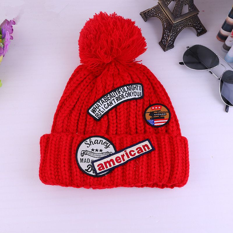 Fashion Personality Casual Winter Warm Patch Letter Printed Hats For Women Wool Ball Directions Beanie Star Style Hat Gorros