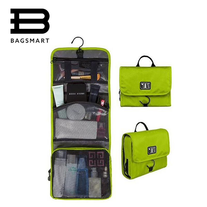 BAGSMART Waterproof Portable Women Make Up Bags Man Toiletry Bag Cosmetic Packing Organizer Pouch With Hanger BB CC Cream