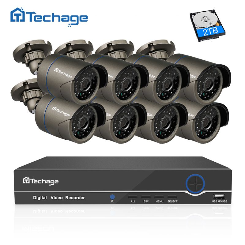 Techage 8CH 1080P HDMI POE NVR Kit CCTV Camera System 2MP Outdoor Security IP Camera P2P Video Surveillance System Set 2TB HDD