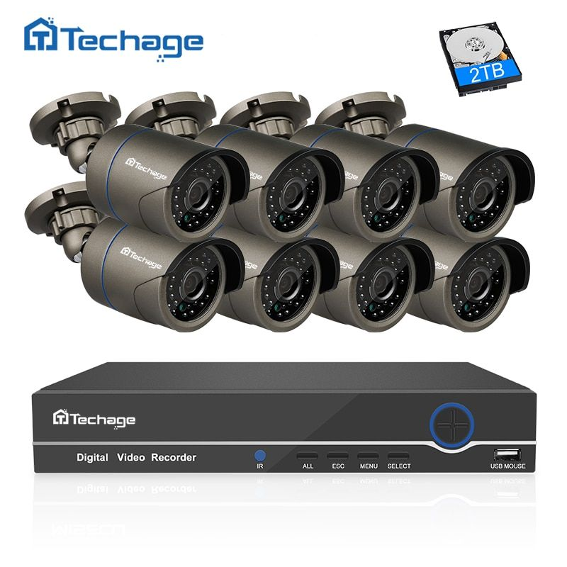 Techage 8CH 1080P HDMI POE NVR CCTV Camera System 2MP Outdoor IP66 IP Camera P2P Onvif Video Security Surveillance Kit APP View