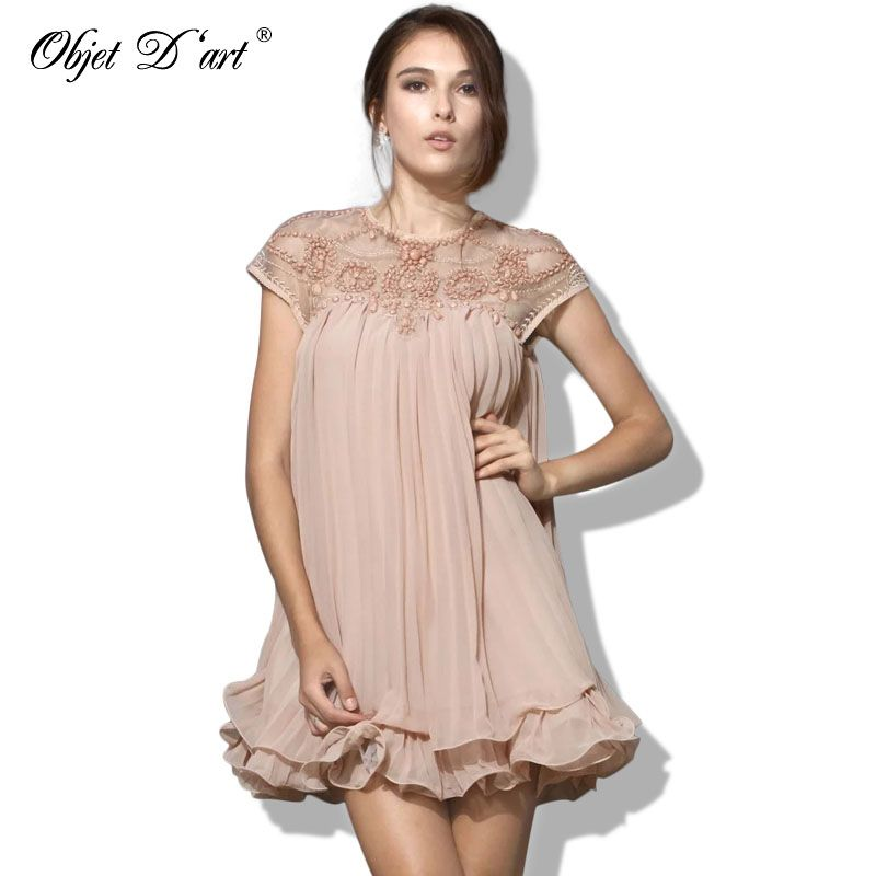 Elegant Women Dresses 2018 Brand Vestidos Fashion Short Sleeve Lace Pleated Ruffled Chiffon Embroidery Cocktail Club Party Dress