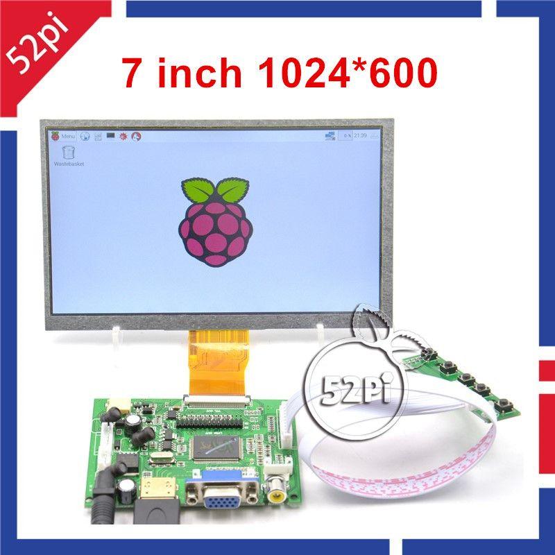 52Pi 7 zoll LCD 1024*600 Display Monitor mit Stick Board (HDMI + VGA + 2AV) für Raspberry Pi, PC Windows 7/8/10