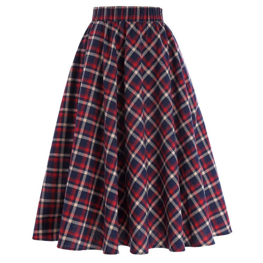 Plaid Skirts Womens Vintage Fashion Grid Pattern A-Line British Style Pleated Skater Skirt Saia Faldas High Waist Autumn Skirt