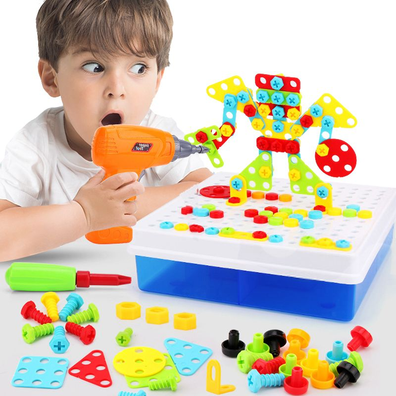 Kids Drill Screw Nut Puzzle Toys Creative Educational Toys Plastic Assembled Mosaic Design Tools Kit Toys Drill Boys Toys