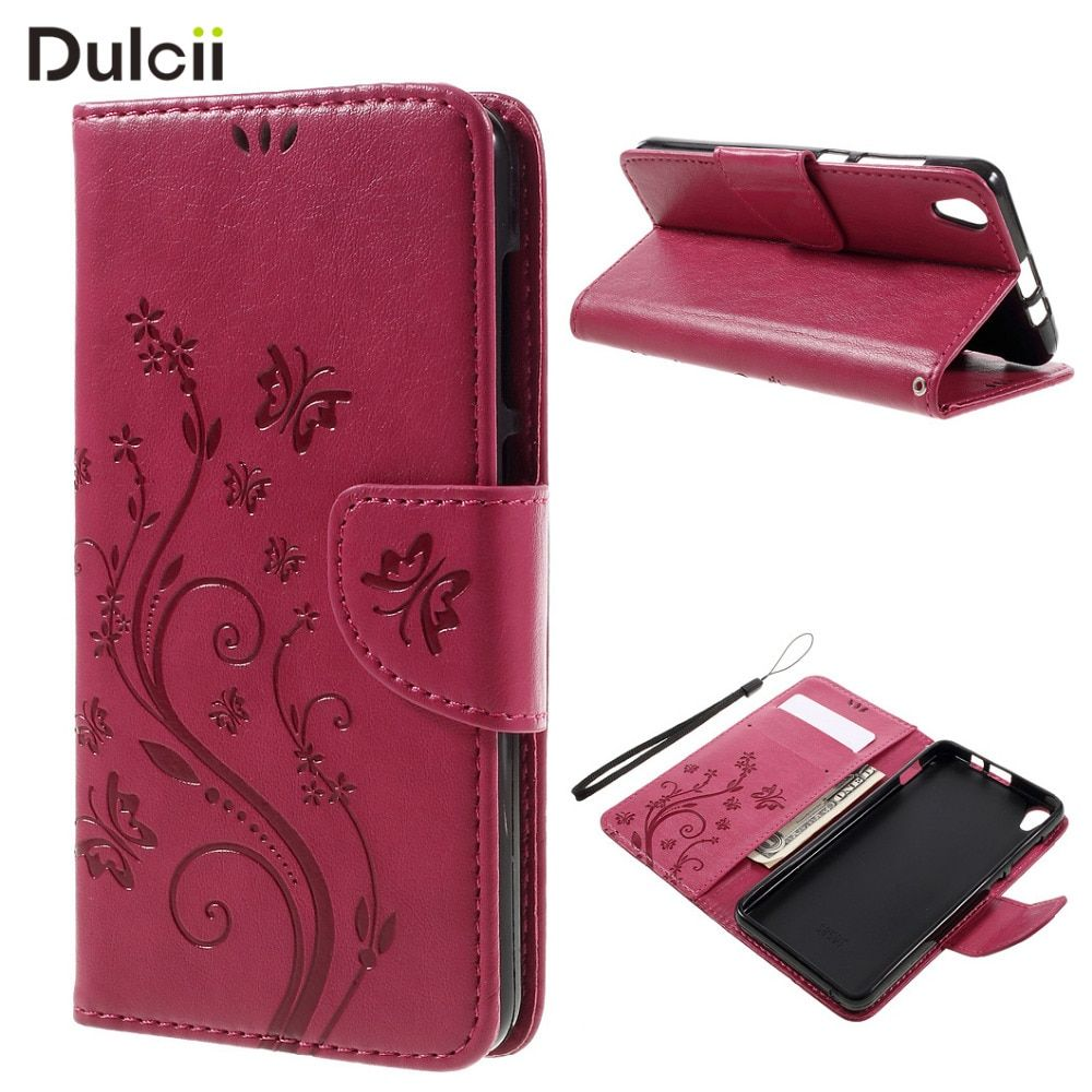 DULCII Case for Lenovo S850 S 850 Phone Bag Flower Butterfly PU Leather Wallet Stand Cover Smartphone Coque Funda Cases