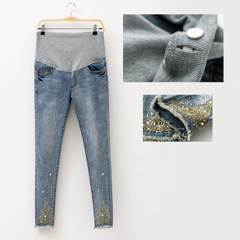 2018 Spring Jeans Maternity Pregnant Women Pants Fashion Hot Beads Maternity Pants Pregnant Trousers Maternity Pregnant <font><b>Clothes</b></font>