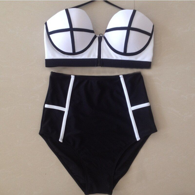 Sexy taille haute Bikini ensemble maillots de bain femmes Push Up Bikinis taille haute Zipper maillots de bain vintage rétro Biquinis