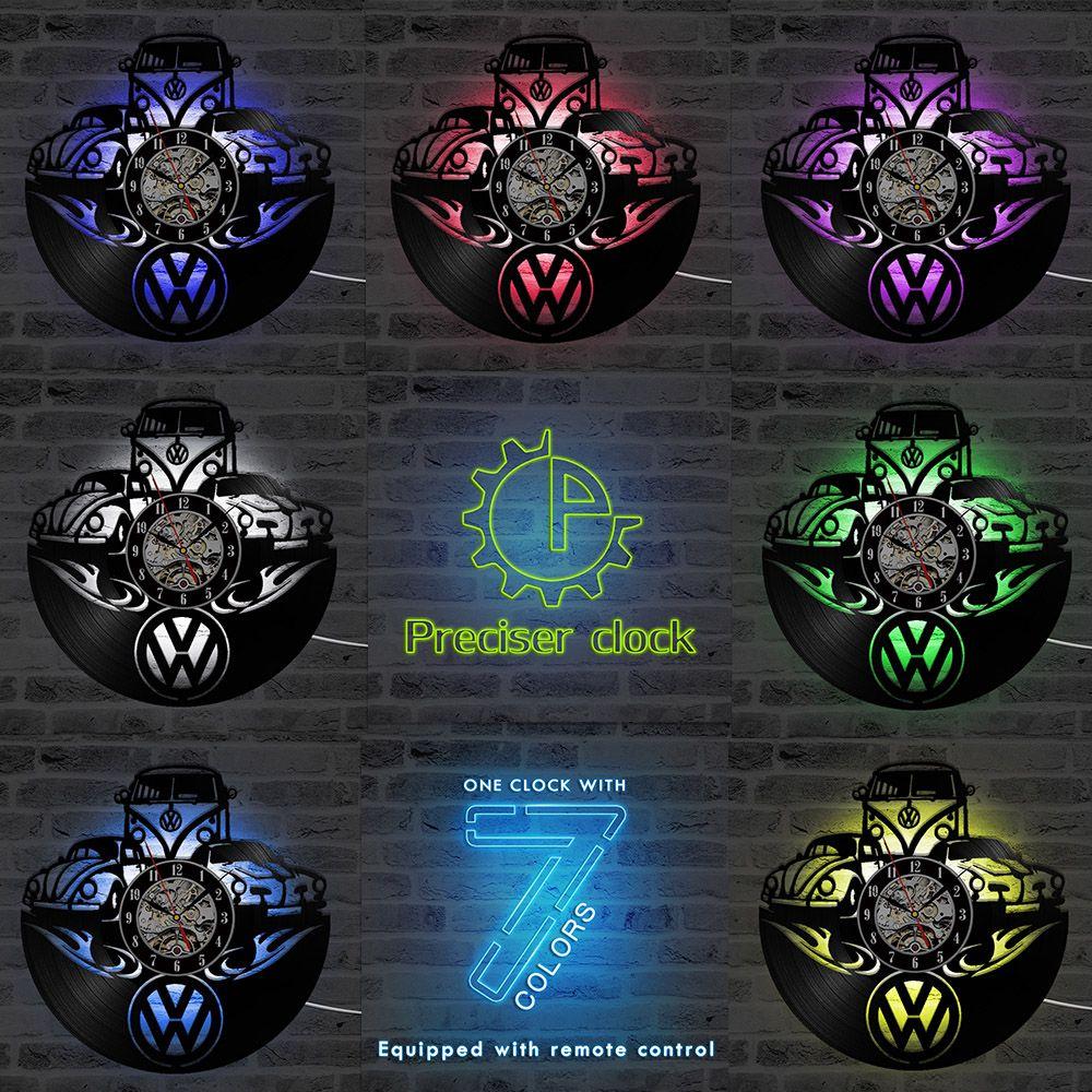 Wolksvagen Voiture Logo Disque Vinyle Horloge Murale Creux Noir Creative LED Horloge Murale Décor À La Maison Classique Pendaison Horloge Murale