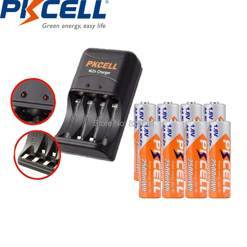 8PCS PKCELL NIZN AA Rechargeable Battery Packed 2500mWh 1.6V With 1PC EU US Plug Ni-Zn Charger 8186 Charging 2 To 4PCS AA Or AAA