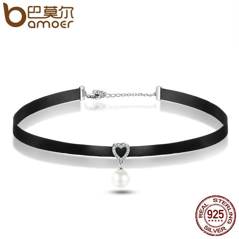 BAMOER 925 Sterling Silver & Black Braid Heart Pendant with Clear CZ Choker Necklace For Women Chocker Colar Jewelry SCN070