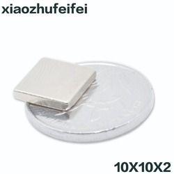 10 piezas 10mm x 10mm x 2mm tierra rara NdFeB imán bloque 10x10x2 neodimio N35 imanes 10*10*2