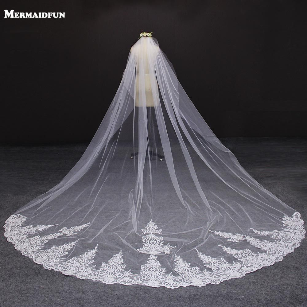 4 Meter White/Ivory One Layer Beautiful Cathedral Length Lace Edge Wedding Veil With Comb Long Bridal Veil Voile Mariage 2018
