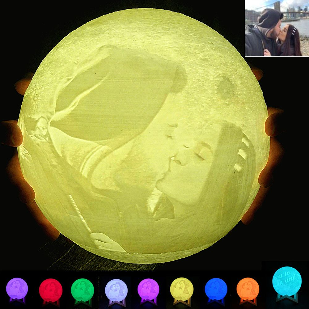 Drop Ship Personality Customized 3D Printing Moon Light USB Charging Photo Custom Moon Night Lamp 2/16 colors Touch Switch