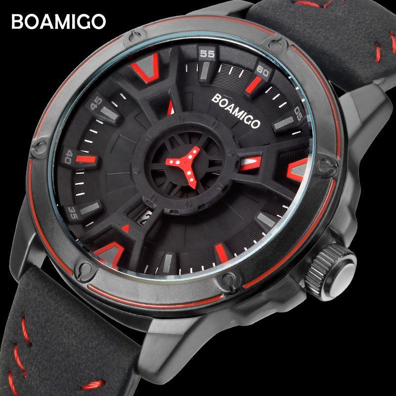 BOAMIGO luxury top brand men quartz watch creative fashion casual sports leather wrist watch auto date clock relogio masculino