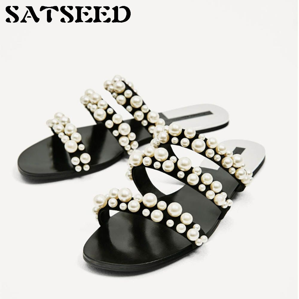 Women Slippers Summer Beach Slippers Pearl Shoes Solid Rubber Sole Outside Slides Women Comfortable Shoes Flat <font><b>String</b></font> Bead New