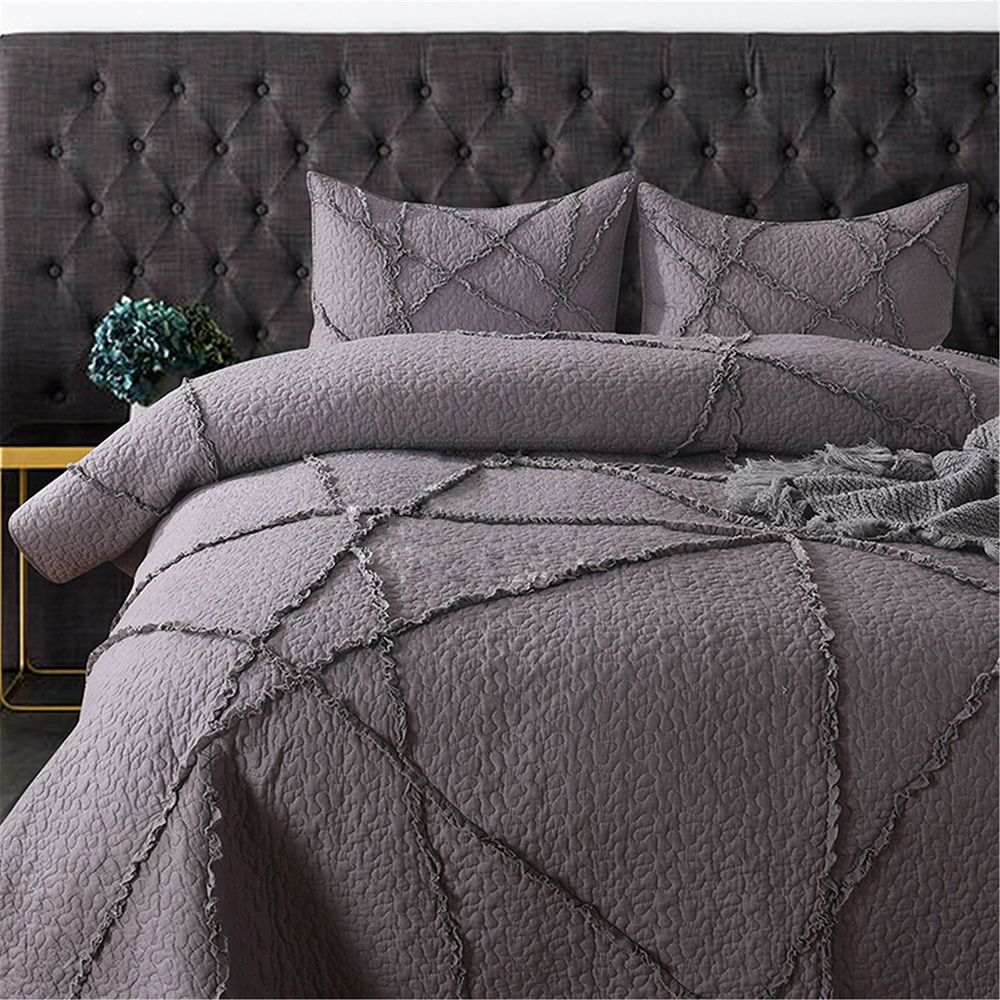 CHAUSUB Cotton Bedspread Quilt Set 3pcs Coverlet Quality Embroidered Quilts Pillowcase Bed Cover Sheets King Queen Size Gray