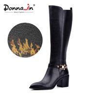 Donna-en la rodilla botas de invierno de las mujeres del cuero genuino del dedo del pie puntiagudo grueso tacón alto de Metal cremallera botas de forro de zapatos