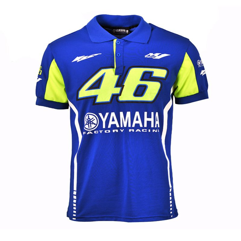Valentino Rossi VR46 Racing Blue MotoGP for Yamaha Polo Shirt Men's Motorcycle Racing <font><b>Biking</b></font> Poloshirt