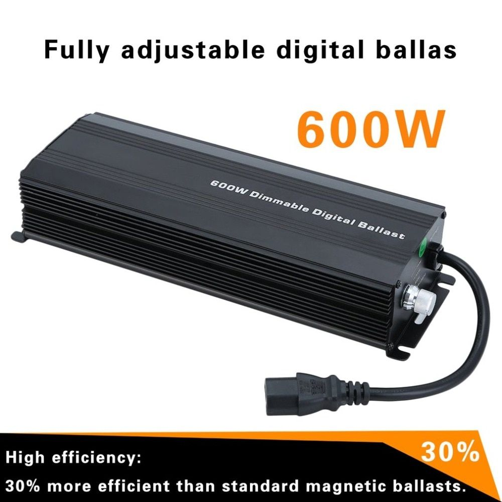 High Power 600W Dimmable Electronic Digital Ballast Fully Adjustable Suitable For Single End Grow Lights HPS/MH