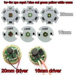 1 pcs Cree XPE XP-E 3 W Merah Hijau Biru Kuning Keren/Hangat putih LED Dengan 20mm/16mm basis + 3 V 3 W 5 W LED Driver