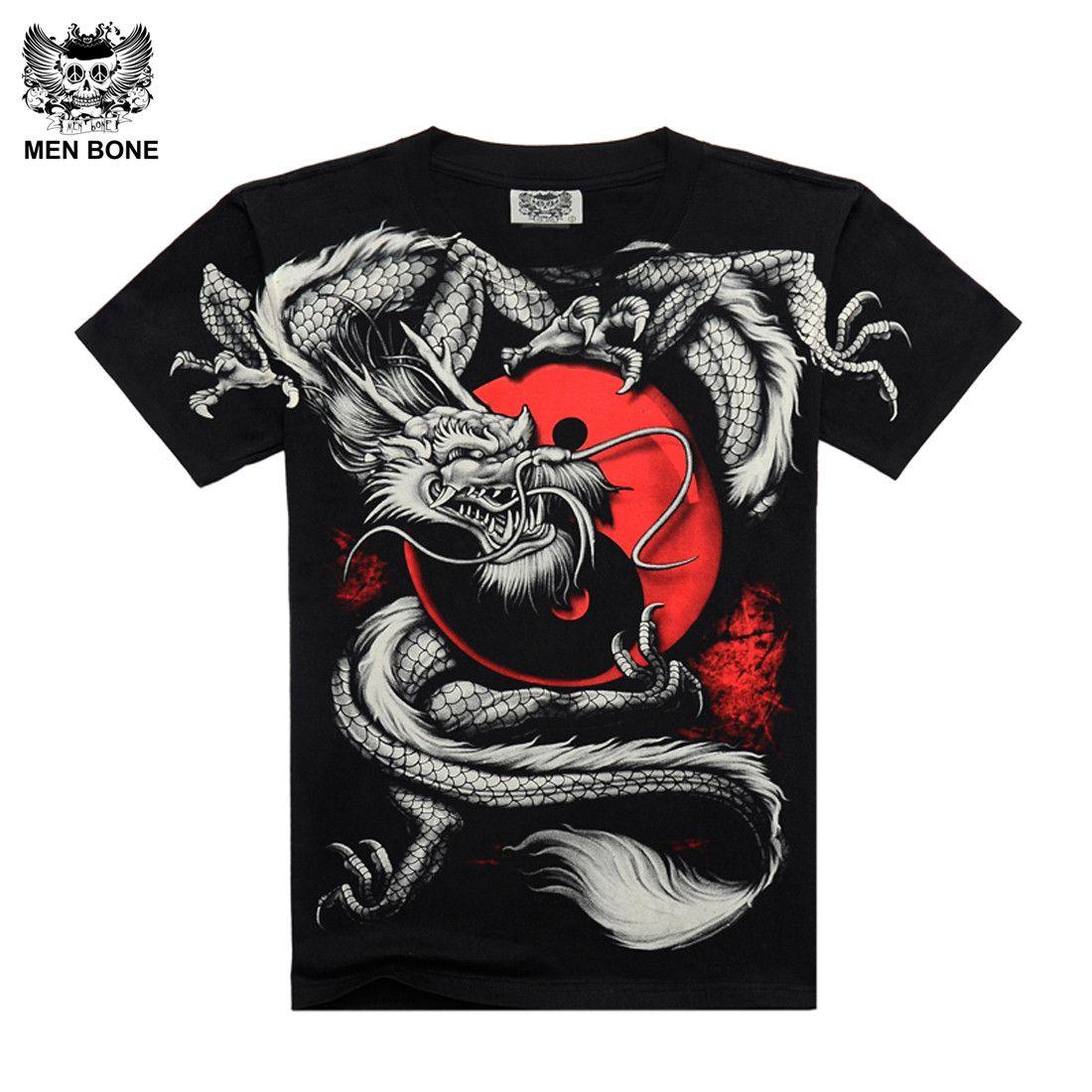 [Hommes os] chine Tai Chi t-shirt Dragon Rock coton hommes t-shirt noir à manches courtes noir imprimé lourd métal Style manches