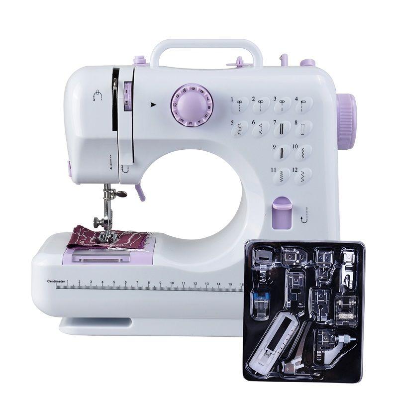 Fanghua Mini 12 points Machine à coudre ménage multifonction Double fil et vitesse Machine à coudre à bras libre