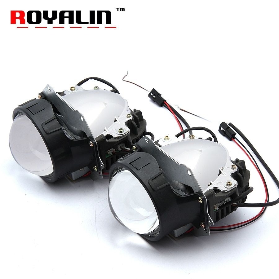 ROYALIN Car Styling Universal Bi LED Projector Headlights Lens With Chip 3.0 inch High and Low Beam Auto Headlamp Light Retrofit