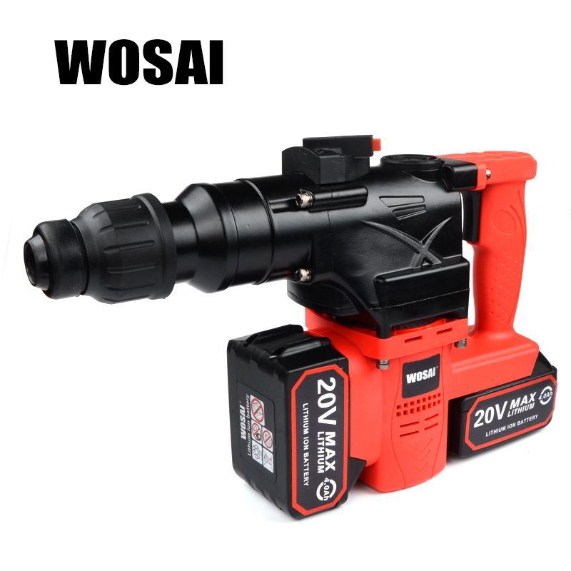 WOSAI 40 v Lithium-Batterie Rotary Hammer Heavy Duty Cordless Auswirkungen Bohrer Power Werkzeug Cordless Hammer Bohrmaschine