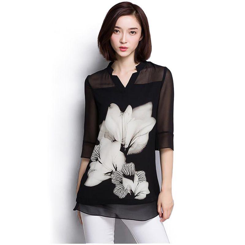 2016 vente Chaude femmes en mousseline de soie Blouse grande taille Casual noir En Mousseline de Soie Imprimé floral Col V à Manches longues Élégant chemises femmes 60C 25