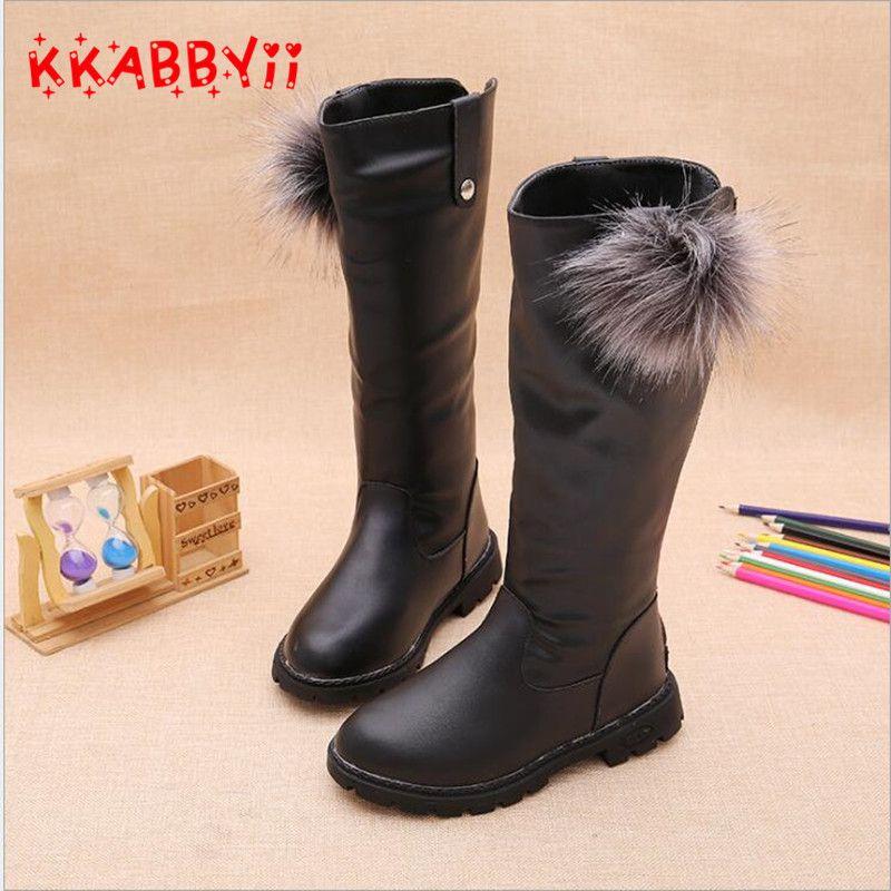Kkabbyii зима Детская обувь принцессы Сапоги и ботинки для девочек Обувь для девочек плюшевые более-колено Сапоги и ботинки для девочек детская...